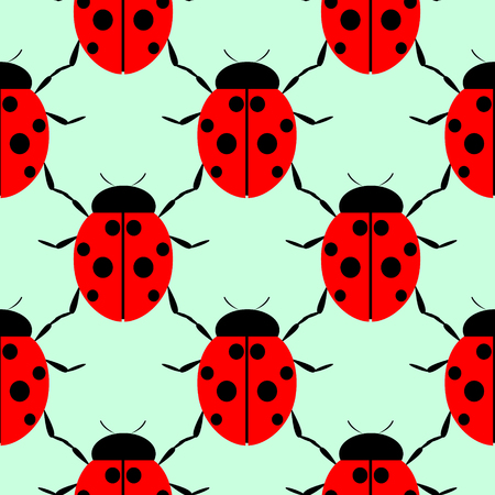 ladybug: Seamless vector pattern with insects, symmetrical background with bright close-up ladybugs, over light green backdrop