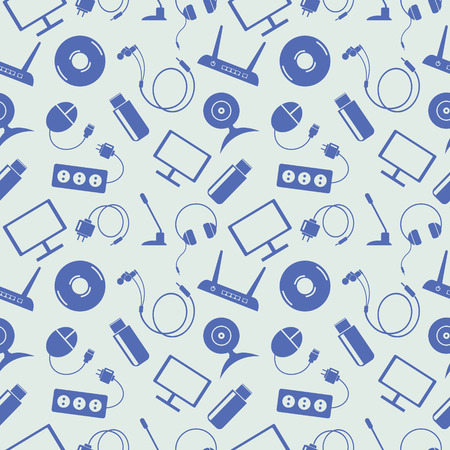 earpieces: Seamless technology vector pattern, chaotic background with blue icons of PC, monitor, headphones, disc, router, socket, battery, USB flash drive, web camera, microphone, over light backdrop