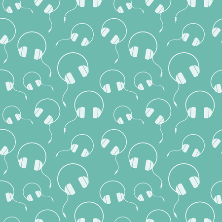 earpieces: Seamless music vector pattern, chaotic background with headphones, over blue backdrop