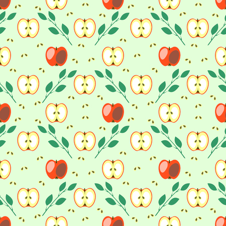 green apple slice: Seamless fruits vector pattern, geometric background with red apples and leaves and bones, whole and half, over blue backdrop