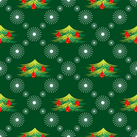 firtrees: Seamless vector pattern. Seasonal winter green background with symmetrical snowflakes and fir-trees, decorated with Christmas toys.