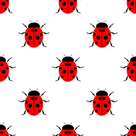 Seamless vector pattern with insects, symmetrical  laconic background with bright ladybugs, over white backdrop Vettoriali