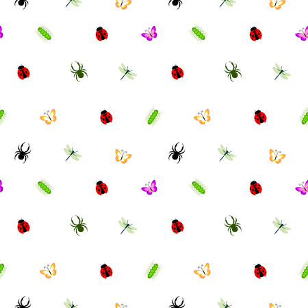 caterpillars: Seamless vector pattern with insects, cute colorful background with little spiders, ladybugs, caterpillars and butterflies, over white backdrop