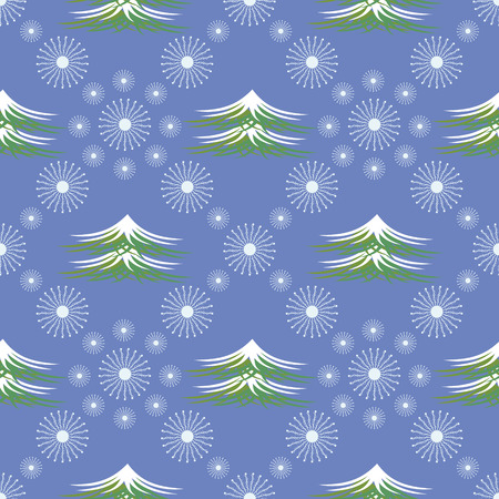 firtrees: Seamless vector pattern. Seasonal winter symmetrical blue background with snowflakes and fir-trees. Illustration