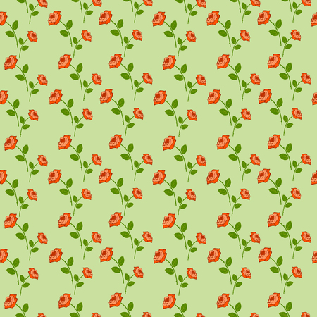 garniture: Seamless vector pattern, floral symmetrical background with roses over green backdrop.