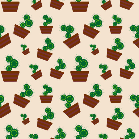 peyote: Vector seamless pattern with elements of home cactus over beige background.