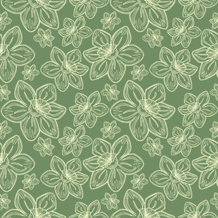 drawed: Seamless vector flowers pattern, vintage background with line drawed frowers, over pastel green backdrop Illustration