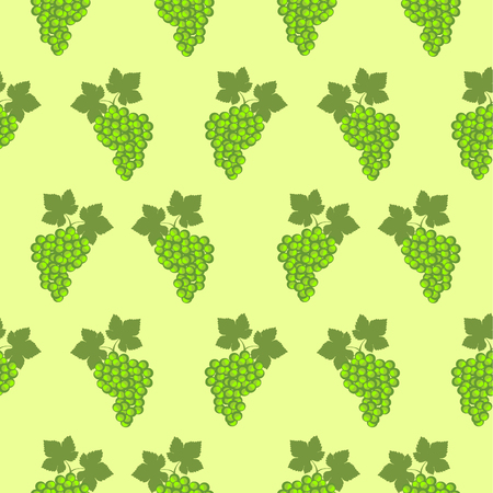 grape vines: Seamless fruits vector pattern, bright color background with grapes and leaves, over green backdrop