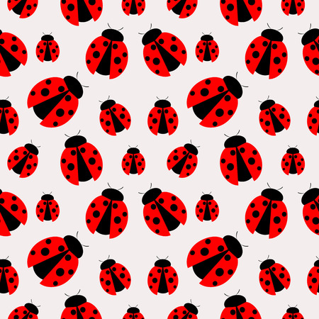 ladybug: Seamless vector pattern with insects, chaotic background with bright close-up ladybugs, over light  backdrop