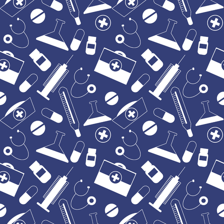 medical preparation: Seamless vector pattern, dark blue chaotic background with medical tools and pills.