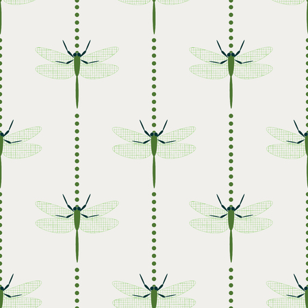 adder: Seamless vector pattern with insects, symmetrical geometric background with dragonflies, over light backdrop Illustration