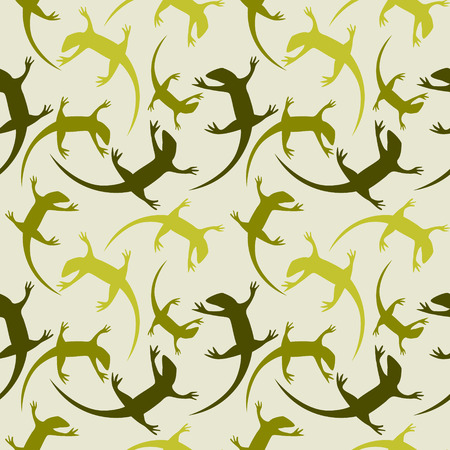 reptiles: Seamless animal vector pattern, chaotic background with colorful reptiles, silhouettes over light green backdrop.