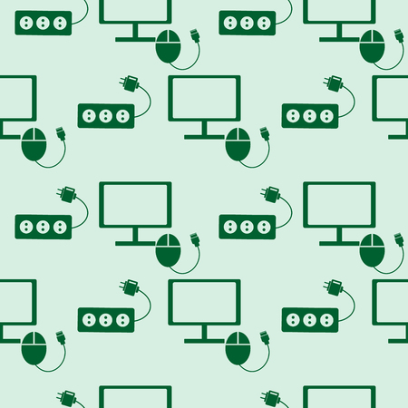 fuse: Seamless technology vector pattern, symmetrical background with icons of monitor, PC mouse and fuse, over green backdrop