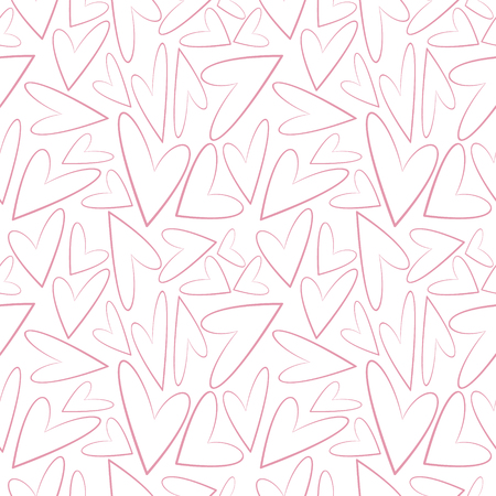 asymmetrical: Seamless vector pattern, white chaotic shadeless background with pink asymmetrical hearts