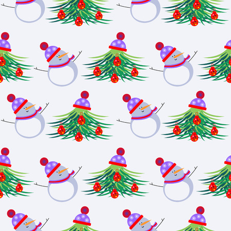 firtrees: Seamless vector pattern. Seasonal winter light background with white snowmen and fir-trees, decorated with Christmas toys and hat. Illustration