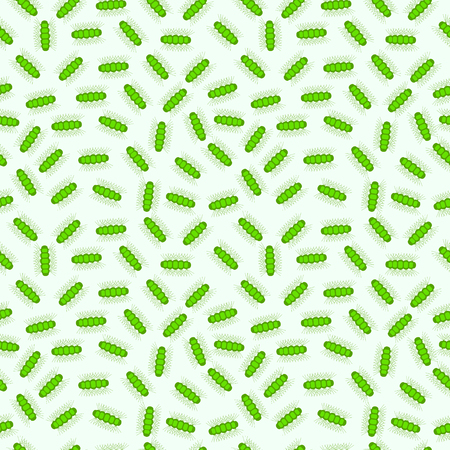 caterpillars: Seamless vector pattern with insects,chaotic shadeless background with green caterpillars, over light backdrop Illustration