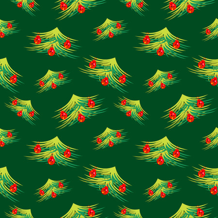 firtrees: Seamless vector pattern. Seasonal winter green background with chaotic fir-trees, decorated with Christmas toys. Illustration