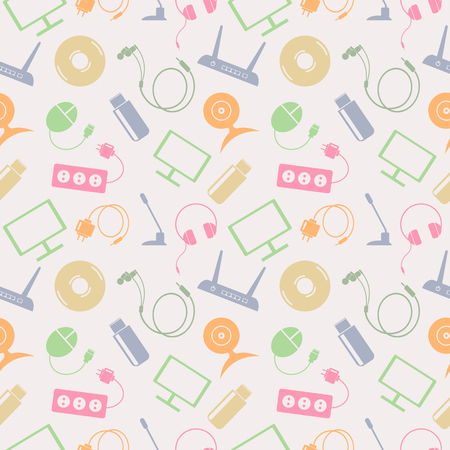 Seamless technology vector pattern, chaotic background with colorful icons of PC, monitor, headphones, disc, router, socket, battery, USB flash drive, web camera, microphone, over light backdrop Illustration