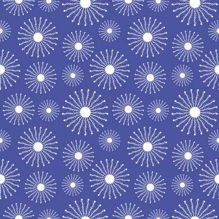 Seamless vector pattern. Seasonal winter  blue background with close-up snowflakes