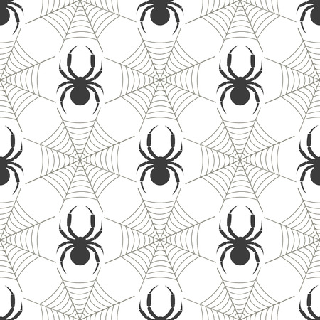 spider's web: Seamless vector pattern with insects, symmetrical  geometric black and white background with  spiders and spiders web.