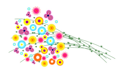 wild grass: Vector illustration. Bouquet of colorful wild flowers with grass isolated over white background
