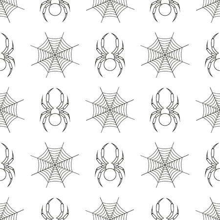 spider's web: Seamless vector pattern with insects, symmetrical geometric black and white background with spiders and spiders web. Line drawing. Illustration
