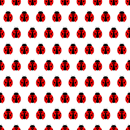 spotted: Seamless vector pattern with insects, symmetrical background with bright little ladybugs, over white backdrop
