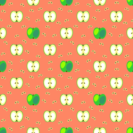green apple slice: Seamless fruits vector pattern, geometric background with grin apples and bones, whole and half, over light red backdrop Illustration