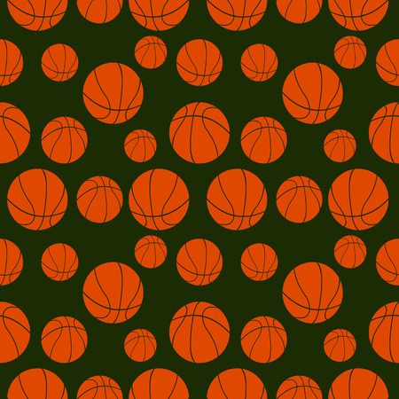 basketballs: Seamless vector pattern with elements of orange basketballs over dark green background