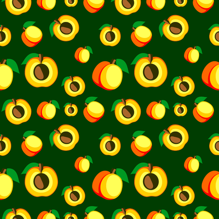 apricots: Seamless vector pattern, bright fruits chaotic background with apricots, whole and half over dark backdrop. Series of fruits and ingredients for cooking.