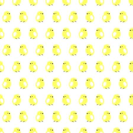 chiken: Seamless vector pattern with animals, cute symmetrical background with chiсkens, over light backdrop