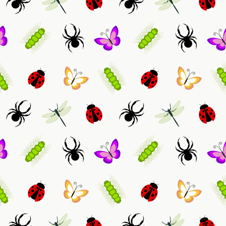 caterpillars: Seamless vector pattern with insects, cute colorful background with spiders, ladybugs, caterpillars and butterflies, over white backdrop