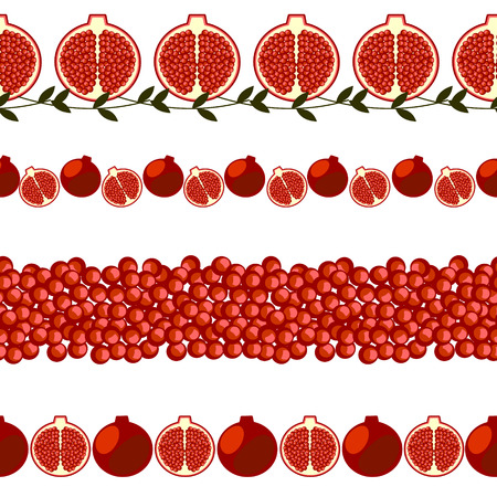 pomegranate: Vector fruit seamless line. Set of elements for design,  borders with pomegranates, isolated on white background. Illustration