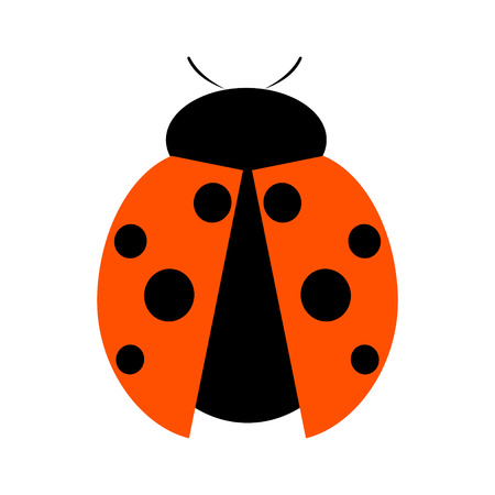 Vector illustration. Icon of ladybug, isolated over white background Illustration