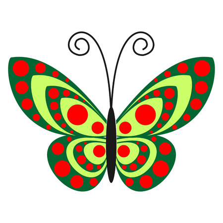 butterfly isolated: Vector illustration. Green butterfly with red dots, isolated over white background