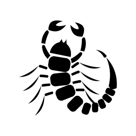 Vector illustration. Icon of scorpion, isolated over white background