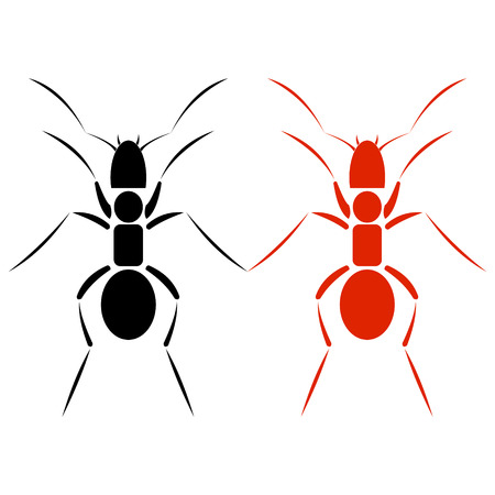 sihlouette: Vector illustration. Icon of black and red ants, isolated over white background
