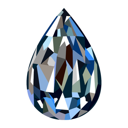 gemstone background: Vector illustration. Blue gemstone in the shape of drop, isolated over white background