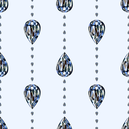 Seamless vector pattern, symmetrical background with bright gemstones in the shape of drops