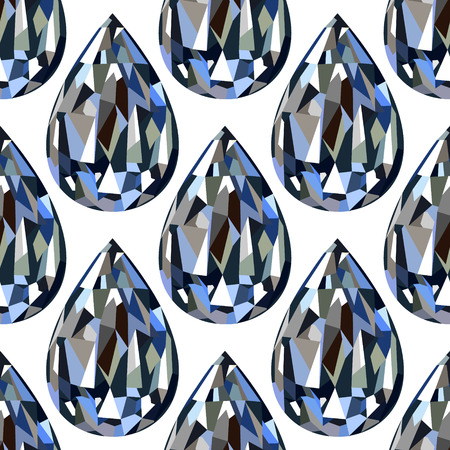 adamant: Seamless vector pattern, symmetrical background with bright closeup gemstones in the shape of drops