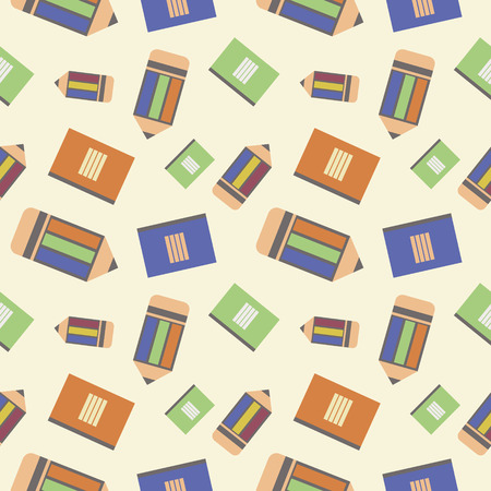 chaotic: Seamless vector pattern, chaotic background with colorful  pencils and notepads