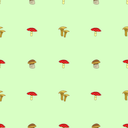 agaric: Seamless vector pattern with vegetables, symmetrical background with mushrooms: fly agaric, chanterelle and porcini mushrooms Illustration