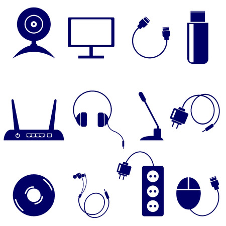 usb disk: Vector set of technology icons: monitor, web camera, usb, flash drive, battery, disk, adapter, headphones, microphone, pc mouse, router, isolated on the white background