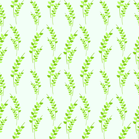 symmetrical: Seamless vector pattern, green symmetrical background with leaves Illustration