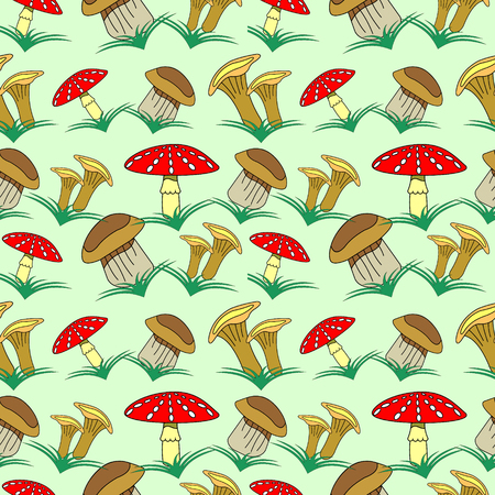 boletus: Seamless vector pattern with vegetables, background with closeup mushrooms and grass: fly agaric, chanterelle and porcini mushrooms