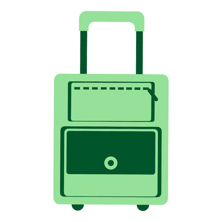 portmanteau: Vector illustration of green travel bag, isolated on the white background