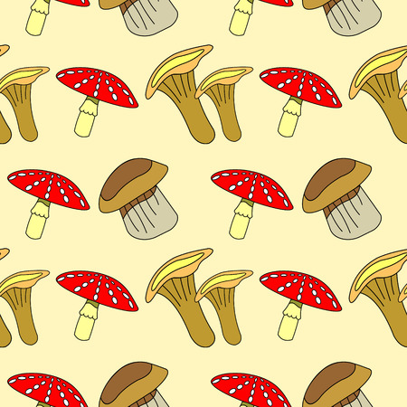 agaric: Seamless vector pattern with vegetables, background with closeup mushrooms: fly agaric, chanterelle and porcini mushrooms Illustration