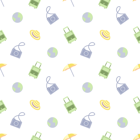 recess: Vector seamless travel pattern with bag, umbrella, camera, globe and cap, over light background Illustration