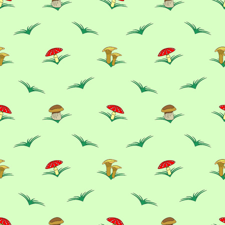 agaric: Seamless vector pattern with vegetables, symmetrical background with mushrooms and grass: fly agaric, chanterelle and porcini mushrooms Illustration
