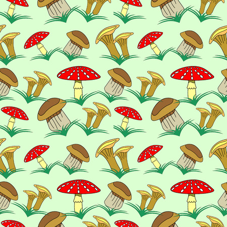 agaric: Seamless vector pattern with vegetables, background with closeup mushrooms and grass: fly agaric, chanterelle and porcini mushrooms